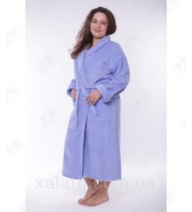 Женский махровый халат большой размер голубой Massimo Monelli
