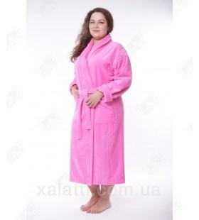 Женский махровый халат большой размер розовый Massimo Monelli
