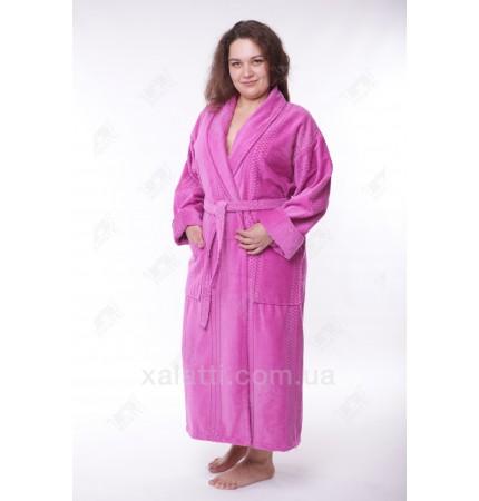 Женский махровый халат большой размер сиреневый Massimo Monelli