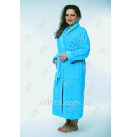 Женский махровый халат большой размер бирюза Massimo Monelli