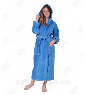 Халат женский махровый 46-52 длинный капюшон голубой Massimo Monelli