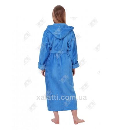 Халат женский махровый длинный капюшон голубой Massimo Monelli