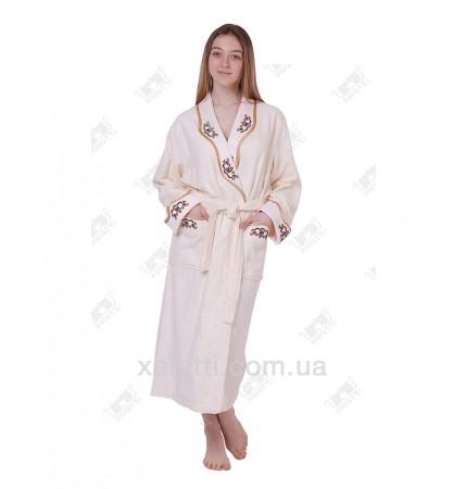 Халат женский махровый бамбуковый Nusa крем