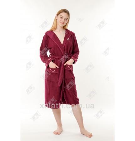 Халат женский махровый с капюшоном Ramel бордо
