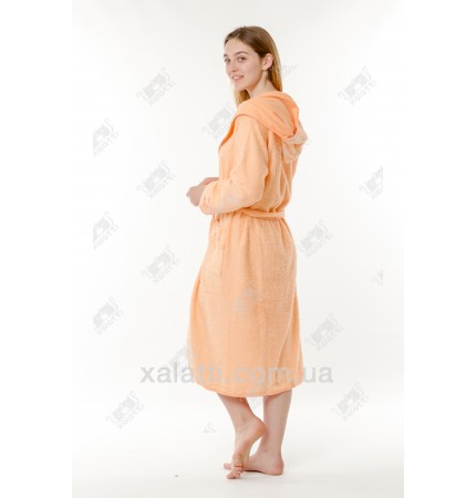 Халат женский махровый с капюшоном Ramel оранжевый