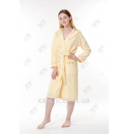 Халат женский махровый махровый с капюшоном Ramel желтый
