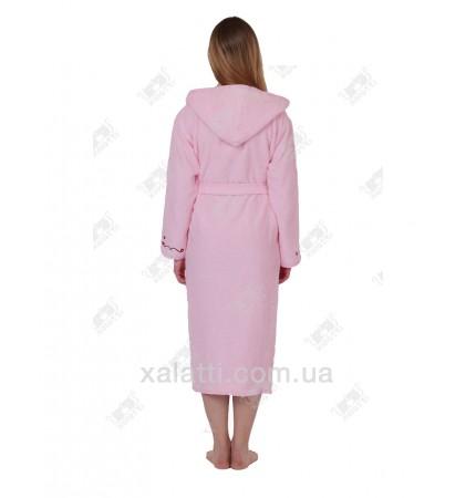 Халат женский махровый с капюшоном Ramel розовый