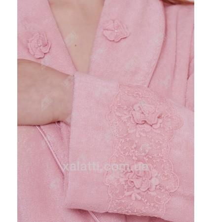 Халат женский махровый микрокотон Yonca Softcotton розовый