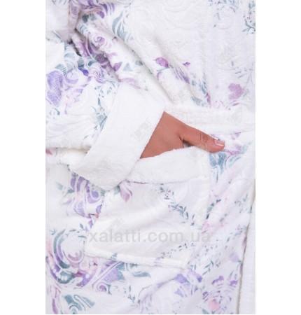 Халат женский махровый бамбук фиолетовый Термо