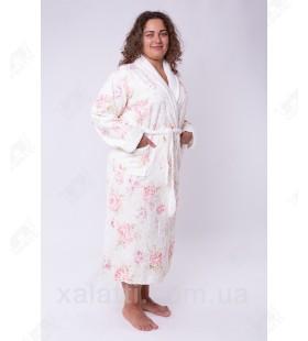 Халат женский махровый бамбук розовый Термо