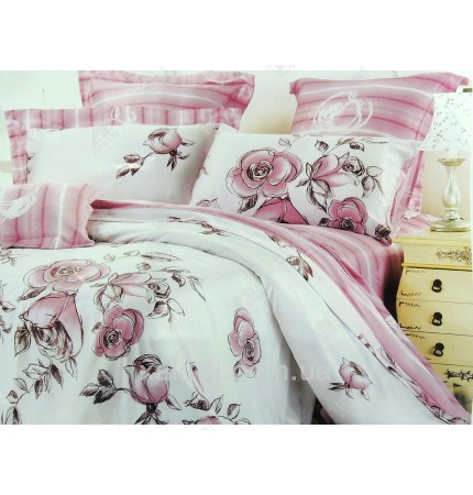 """Комплект постельного белья евро бамбук """"Розовый зефир"""""""