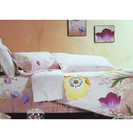 """Комплект постельного белья евро сатин """"""""Цветочное панно"""""""