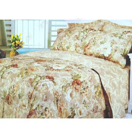 """Комплект постельного белья евро сатин """"Бежевые цветы"""""""