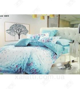 """Комплект постельного белья евро сатин """"Голубые цветы"""""""