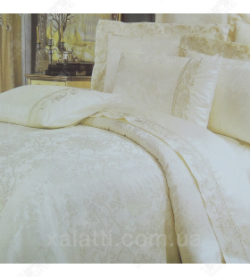 Комплект постельного белья евро сатин-жаккард кремовый