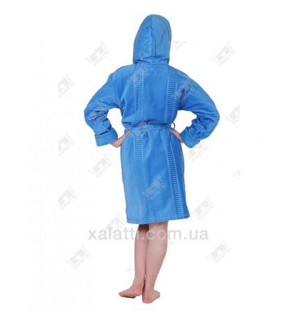 Халат женский махровый с капюшоном хлопок ММ голубой