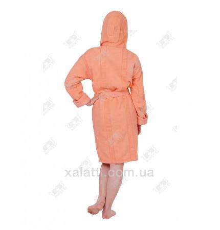 Халат женский махровый с капюшоном хлопок ММ персик