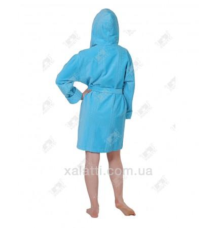 Халат женский махровый с капюшоном хлопок ММ бирюзовый