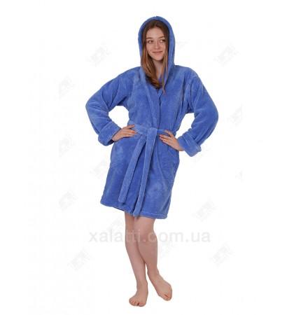 Халат женский короткий махровый с капюшоном софт голубой