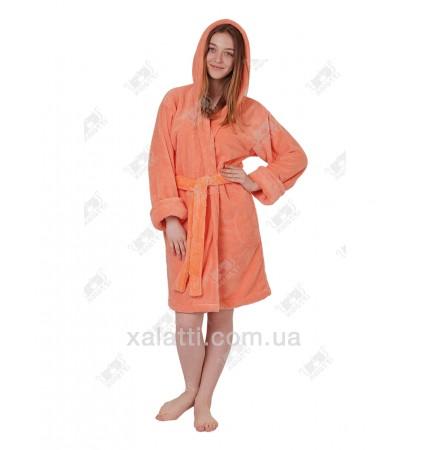 Халат женский махровый с капюшоном софт персик
