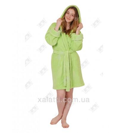 Халат женский махровый с капюшоном софт салатовый