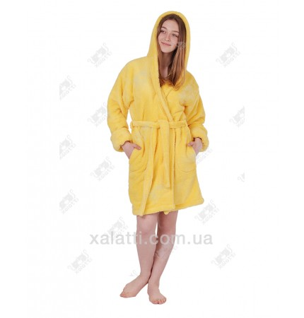 Халат женский махровый с капюшоном софт желтый