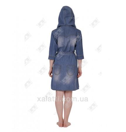 купить халат женский короткий 44-54 джинсовый Nusa