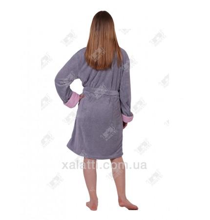 "Халат женский короткий  Nusa ""Цветок"" серый софт"
