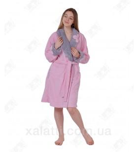 """Халат женский короткий Nusa """"Цветок"""" розовый софт"""