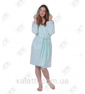 Халат женский короткий капюшоном Ramel зеленый
