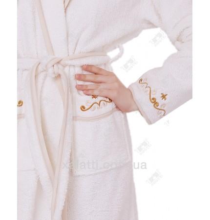 Халат женский короткий с капюшоном Ramel крем