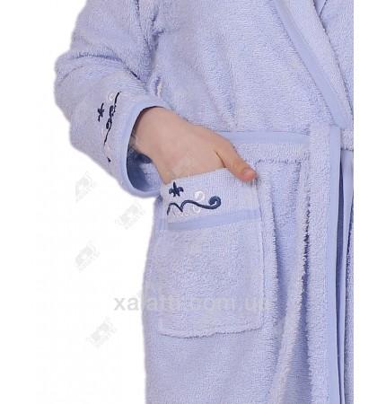 Халат женский короткий с капюшоном Ramel голубой