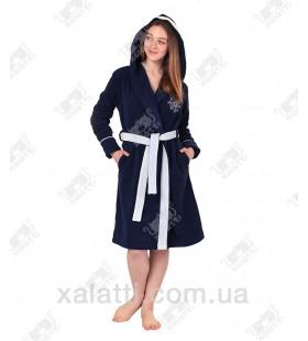 Халат женский короткий махровый с капюшоном Marina Softcotton