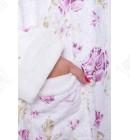 Халат женский махровый короткий бамбук сиреневый Термо