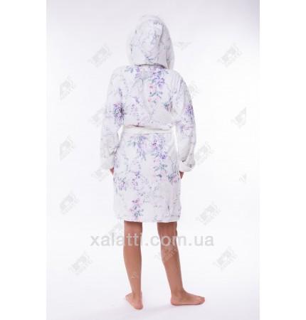 Халат женский махровый короткий бамбук фиолетовый Термо