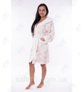 Халат женский махровый короткий бамбук персиковый Термо