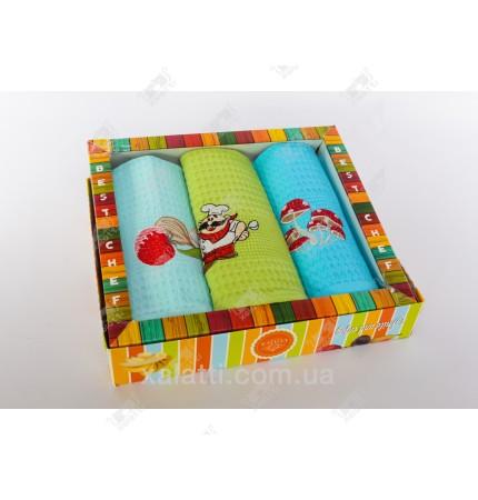 Набор полотенец вафельных 3 штуки хлопок №1