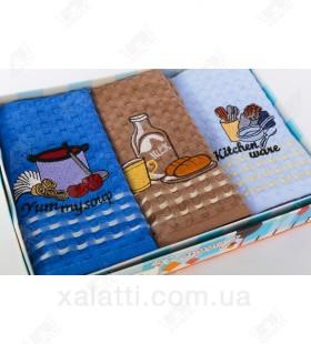 Набор полотенец вафельных 3 штуки хлопок №4