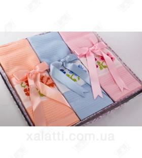 """Набор полотенец вафельных 3 штуки хлопок """"Ленты"""" №2"""