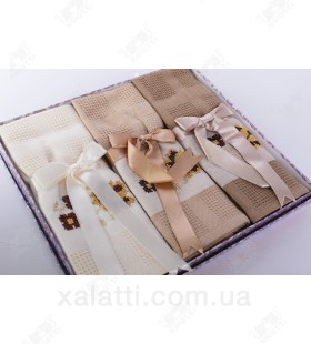 """Набор полотенец вафельных 3 штуки хлопок """"Ленты"""" №4"""