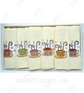 """Набор полотенец вафельных 6 штук """"Камушки"""" хлопок"""