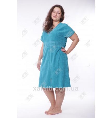 """Халат женский большого размера легкая махра """"Вышивка"""" Esra зеленый"""
