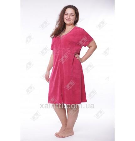 """Халат женский большого размера 56-58 легкая махра """"Вышивка"""" Esra бордо"""