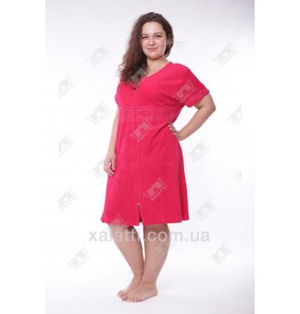 """Халат женский большого размера легкая махра """"Вышивка"""" Esra малиновый"""