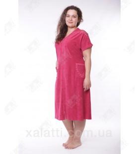 """Халат женский большого размера легкая махра """"Кружево"""" Esra бордо"""