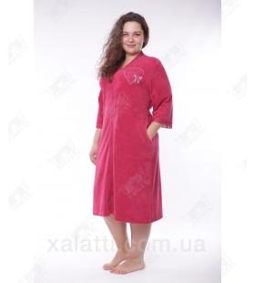 """Халат женский большого размера легкая махра """"Сердечко"""" Esra бордо"""