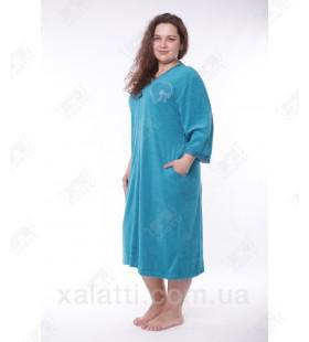 """Халат женский большого размера легкая махра """"Сердечко"""" Esra зеленый"""