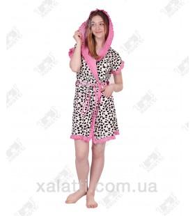 """Халат женский трикотаж """"Долматин""""розовый"""