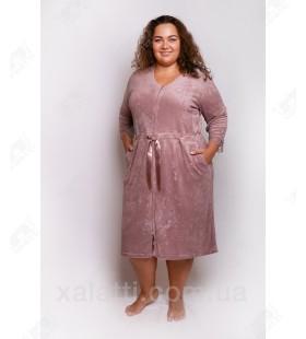 """Халат женский большого размера легкая махра """"Поясок"""" Esra лиловый"""