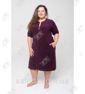 """Халат женский легкая махра """"Жемчужинки"""" Esra фиолетовый к.9375"""